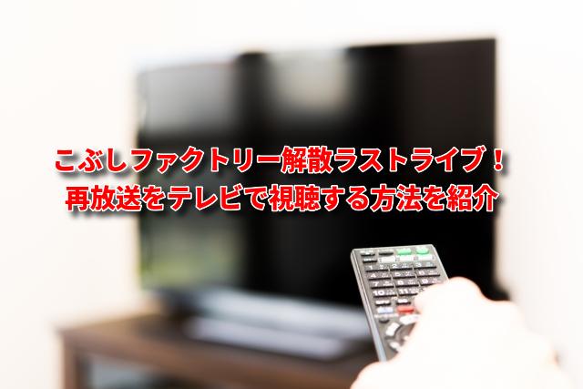 こぶしファクトリー解散ラストライブ!再放送をテレビで視聴する方法を紹介